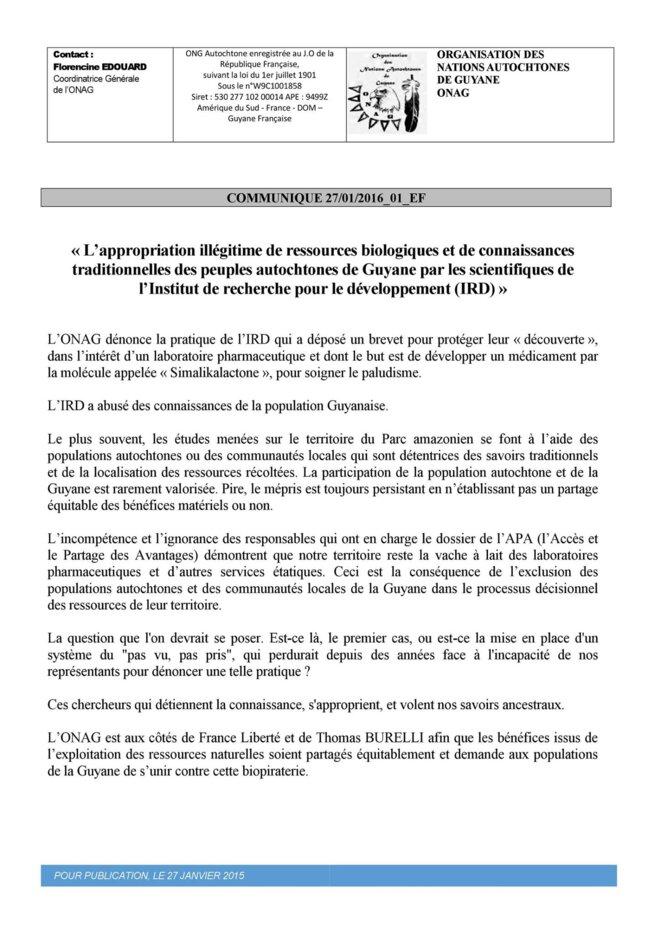 Communiqué ONAG du 27.01.2016