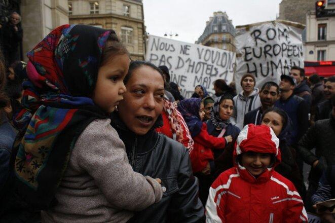 Manifestation contre l'expulsion des Roms de la petite ceinture, Paris © LP/Olivier Corsan