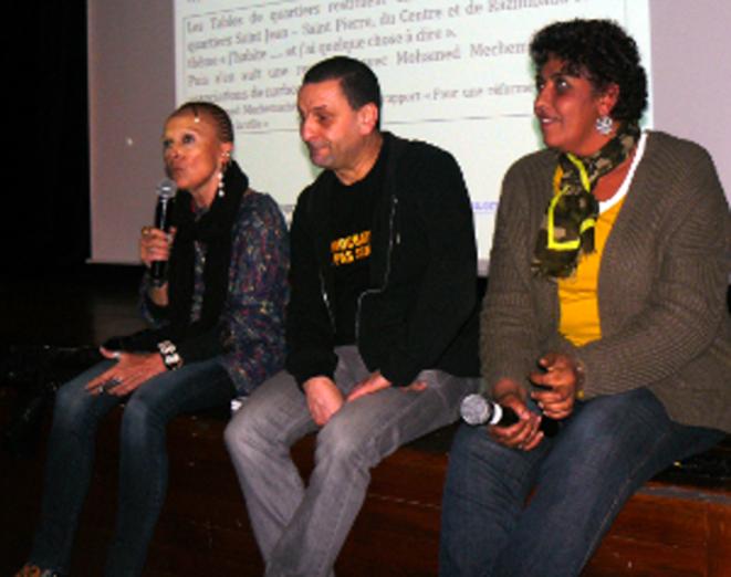 Nicky Tremblay (à g.), Mohamed Mechmache et Fatima Moustefaoui.