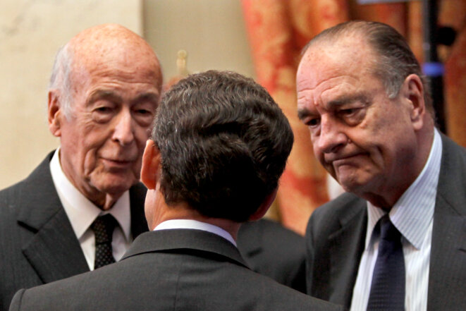 France's three surviving presidents (left to right): Valéry Giscard d'Estaing, Nicolas Sarkozy and Jacques Chirac. © Reuters