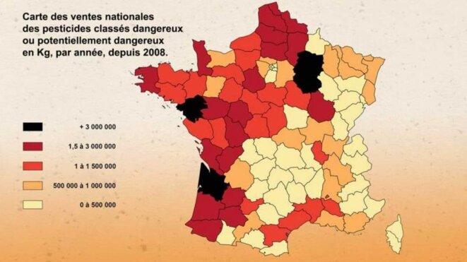 Carte nationale des ventes de pesticides © Cash Investigation - France 2