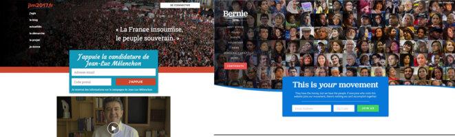 Le site de campagne de Mélenchon (à gauche), et celui de Bernie Sanders (à droite)