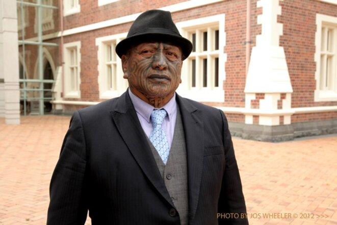 Tame Iti, militant Maoris, dans « The price of peace » de Kim Webby, film prochainement diffusé sur Mediapart © Jos Wheeler