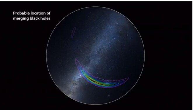 Localisation dans le ciel de la collision des deux trous noirs détectés par le Ligo © DR