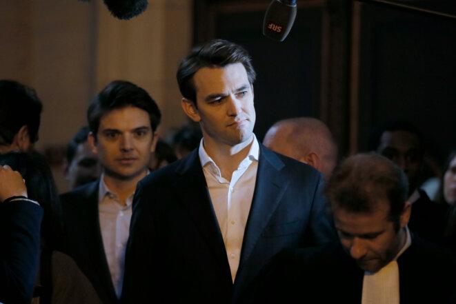 Pierre-Dimitri Gore-Coty et Thibaud Simphal arrivent au TGI de Paris, le 11 février. © Reuters - Gonzalo Fuentes