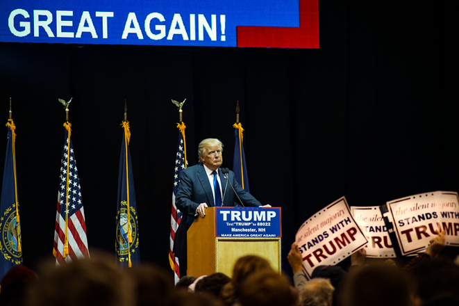 Donald Trump en su meeting en New Hampshire. © Thomas Cantaloube