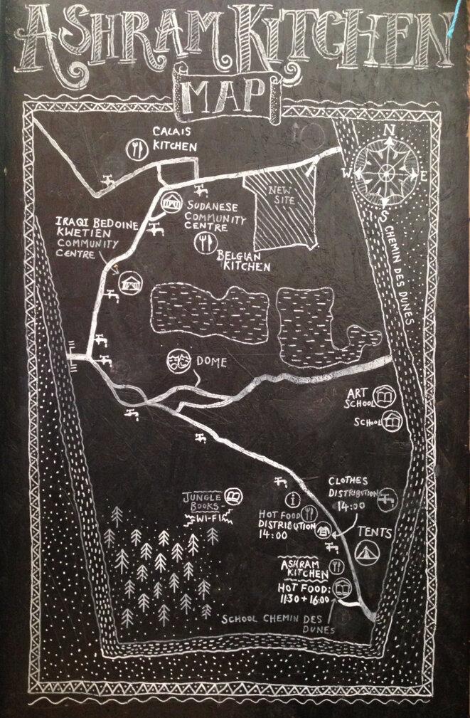 Carte de l'Ashram Kitchen, zone sud de la Jungle de Calais, février 2016 © Sébastien Thiéry