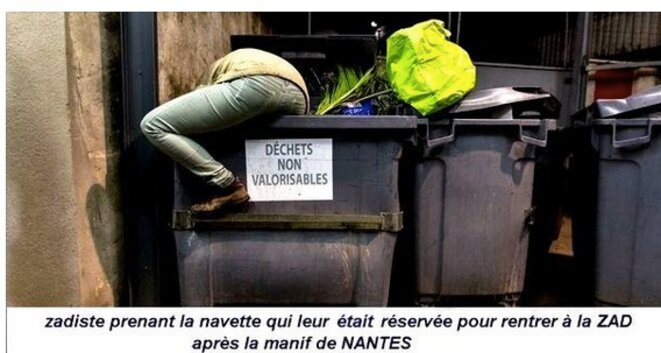 A photomontage posted by supporters of the project on their Facebook page. The sign on the bin refers to 'rubbish that cannot be reused'.