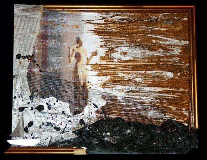 Noyade sous les ors de la république. Technique mixte sur bois. 60x99 cm © ARySQUE