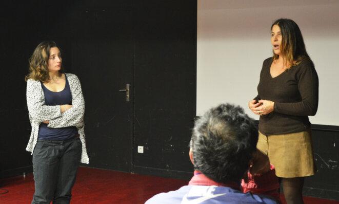 Isabelle Jenoc (à droite) à la projection le 17 février