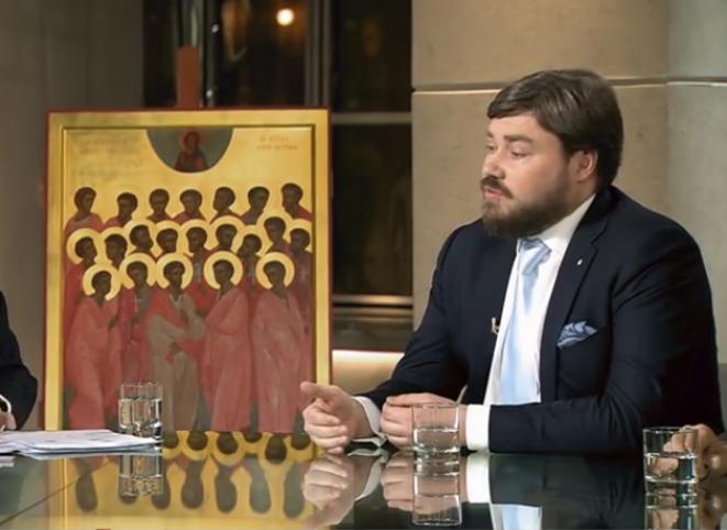 Konstantin Malofeev, fondateur de la chaîne Tsargrad TV, lors d'un débat le 13 février sur la rencontre entre le pape François 1er et le patriarche orthodoxe Kirill © Capture d'écran Tsargrad TV