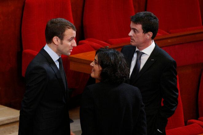 Emmanuel Macron, Myriam El Khomri et Manuel Valls le 18 janvier, au Conseil économique et social © Reuters