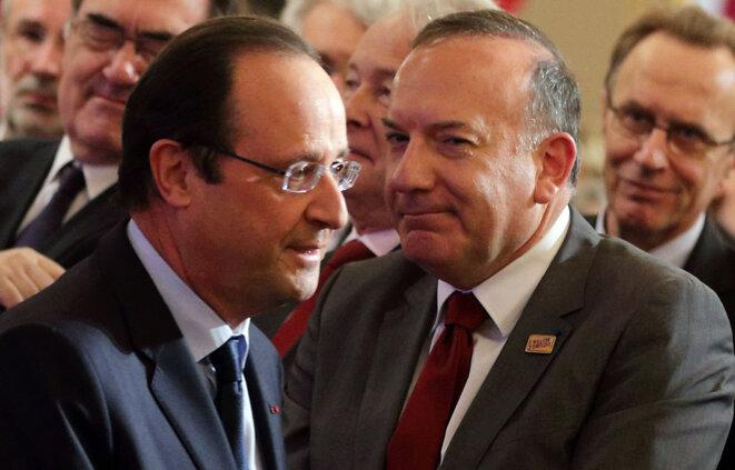 François Hollande et le président du Medef, Pierre Gattaz, en janvier 2014 © Reuters