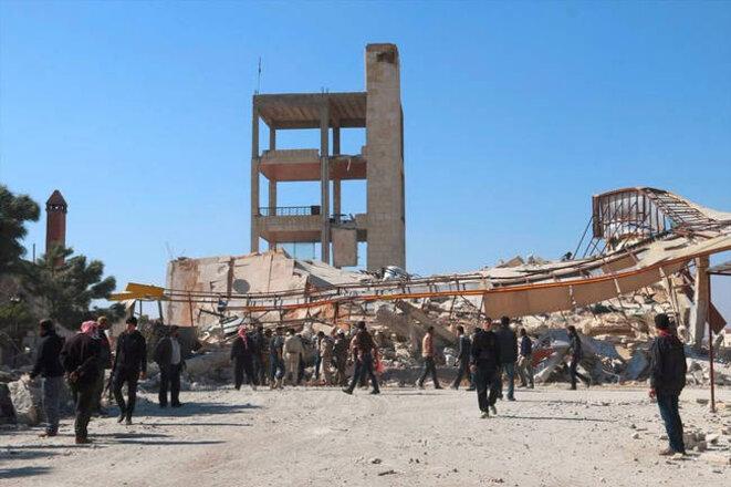 L'hôpital Ma'arat Al Numan soutenu par MSF a été attaqué et détruit le 15 février 2016. © MSF
