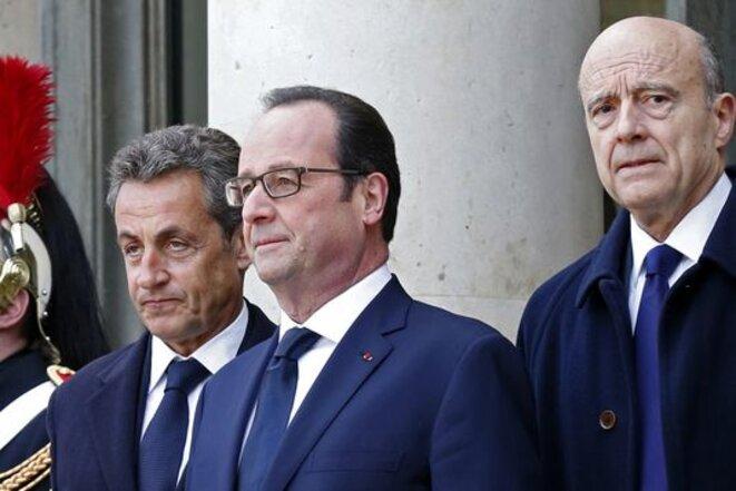 Nicolas Sarkozy, François Hollande et Alain Juppé, le 11 janvier 2015. © Reuters