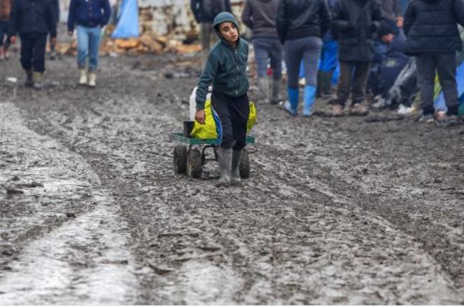Dans le campement de Grande-Synthe, le 3 février 2016. © Reuters