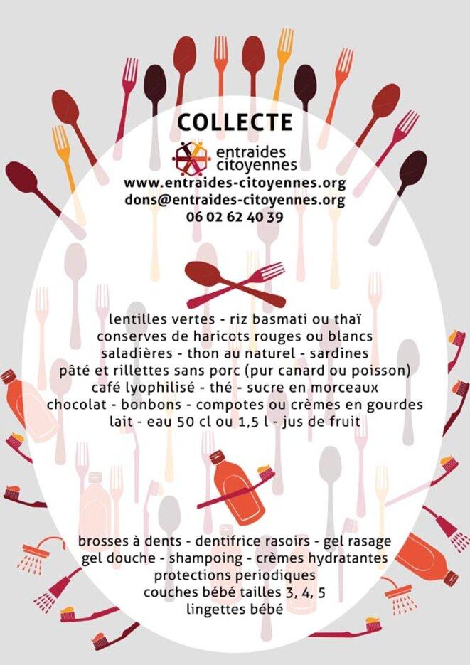 Collecte de produits d'hygiène et de denrées alimentaires © Entraides-Citoyennes