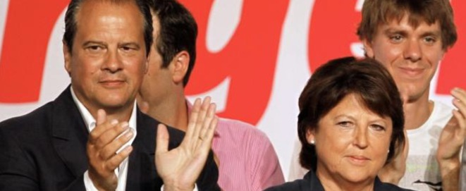 Martine Aubry on the warpath, seen here with current party boss Jean-Christophe Cambadélis.
