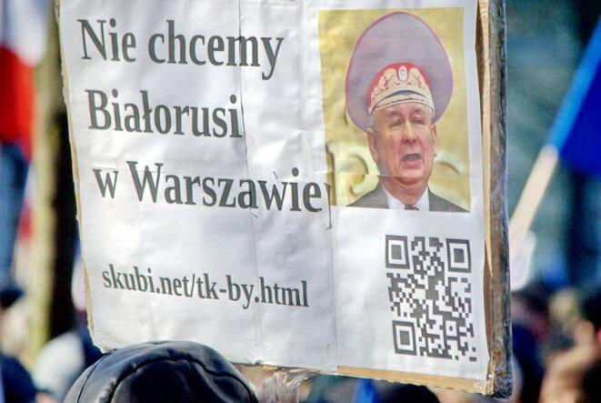 """""""Nous ne voulons pas la Biélorussie à Varsovie"""", le 23 janvier 2016. © Natalia Krasicka"""