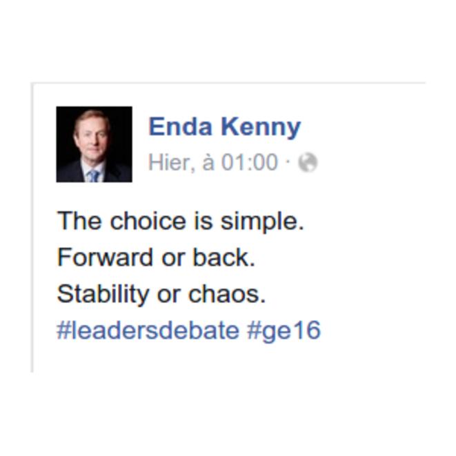 Capture d'écran de la page Facebook du Premier Ministre sortant