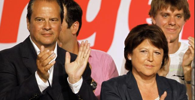 Then and now: former party boss Martine Aubry with current first secretary Jean-Christophe Cambadélis, seen here at La Rochelle in 2012. © Reuters