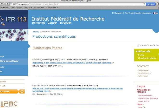 """Capture d'écran du site de l'UPMC montrant l'article du NEJM en tête d'une liste de """"publications phares""""."""