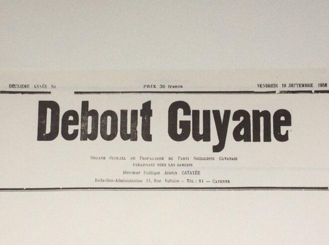 Fabrication documentaire par Pierre Michelon du Debout Guyane du vendredi 19.09.1958 où l'on ne laissa pas à Malraux le loisir de citer son disccours.