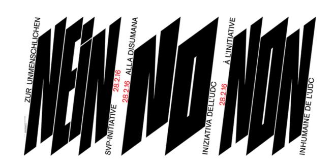 Affiche Non Nein No à l'initiative inhumaine de l'UDC