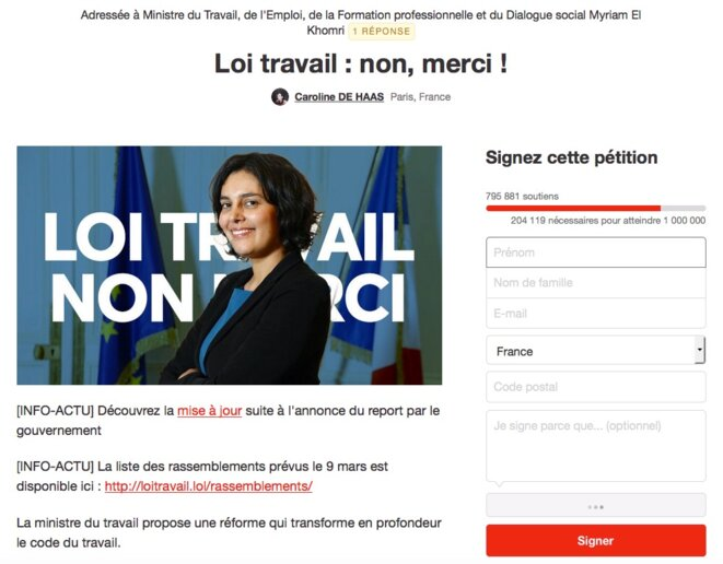 La pétition sur Change.org.