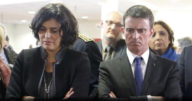 Myriam El Khomri et Manuel Valls en déplacement à Mulhouse © Reuters