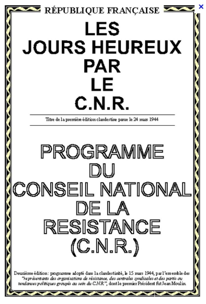 Les jours heureux: le programme du Conseil national de la ...