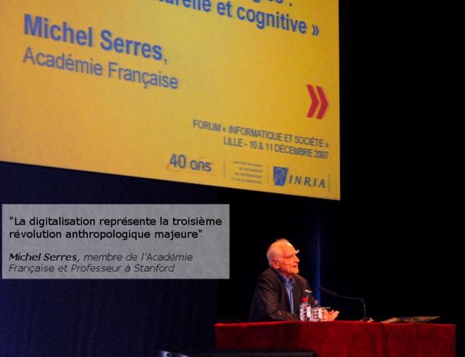 Michel Serres, membre de l'Académie Française et Professeur à Stanford © Jean-Pierre Dalbéra, conférence de Michel Serres pour les 40 ans de l'INRIA, Lille Grand Palais