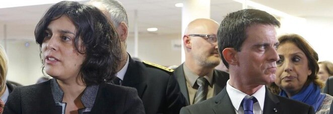 Facing the storm: employment minister Myriam El Khomri and prime minister Manuel Valls. © Reuters