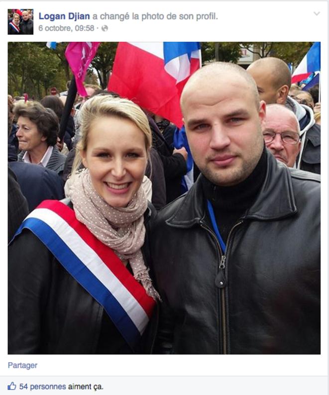 Logan Djian avec Marion Maréchal-Le Pen, le 5 octobre 2014, en marge d'un rassemblement de la « Manif pour tous ». © Facebook de Logan Djian