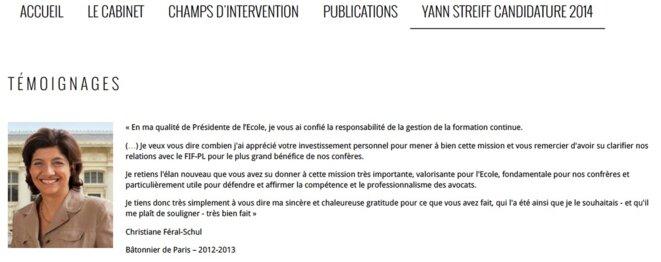 La rubrique sur la candidature avortée de Yann Streiff, publiée en 2014 sur le site de son cabinet © D.R.
