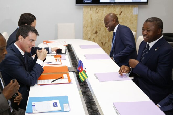 Faure Gnassingbe et Manuel Valls en réunion Cop21 Paris