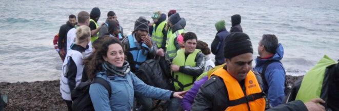 Réfugiés sur le rivage de Lesbos