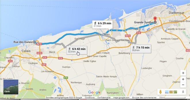 De Calais à Grande-Synthe © Google Maps