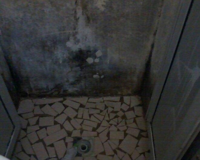 Une douche dans une cellule de la maison d'arrêt de Basse-Terre © DR