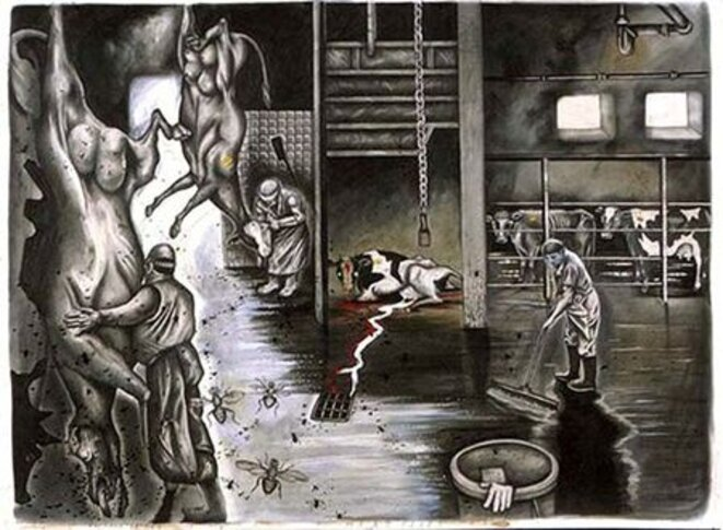 Meat flies - Sue Coe, 1991