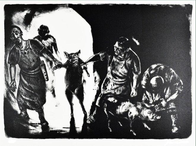 Standing Pig - Sue Coe, 1993