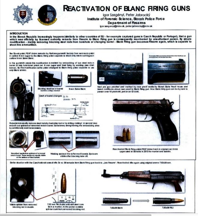 Poster édité par la police slovaque sur les risques de remilitarisation d'armes neutralisées. © DR