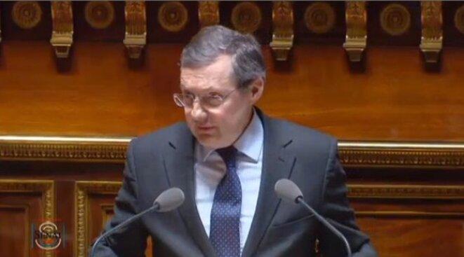 Le rapporteur Philippe Bas (LR) jeudi au Sénat © Capture d'écran de la chaine Public Sénat