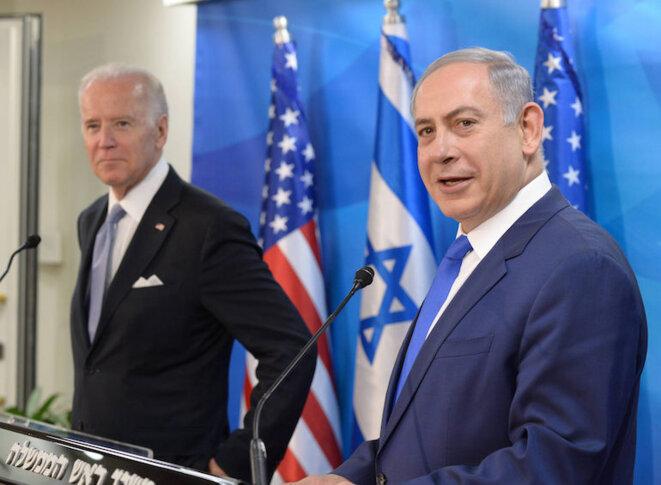 Benjamin Netanyahou reçoit le vice-président américain Joe Biden le 9 mars 2016 © Amos Ben Gershom/GPO
