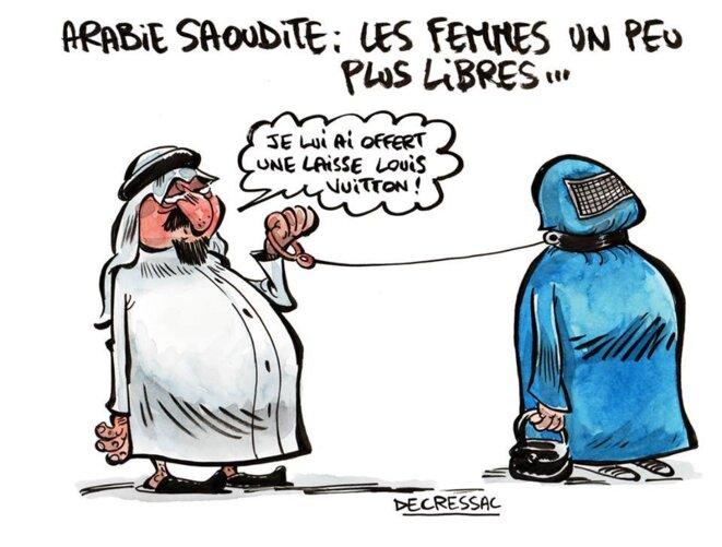 """Dessin Libre dessin de presse - arabie saoudite: """"les femmes un peu plus libres"""