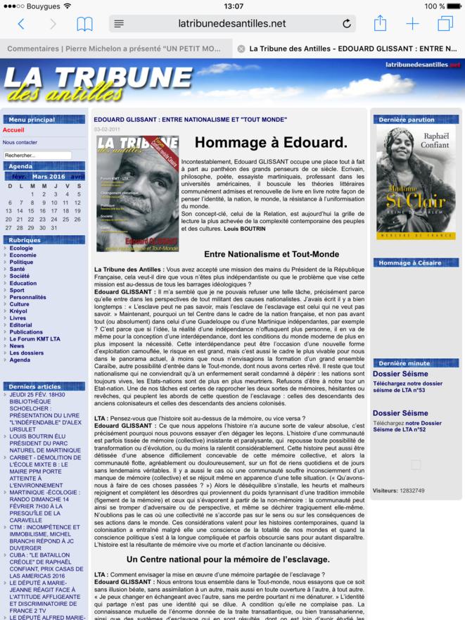 Capture d'écran du site la Tribune des Antilles n° 50 du 03.02.2011.