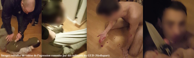 Scenes from the graphic video showing the attack carried out by members of the French extreme-right group GUD.
