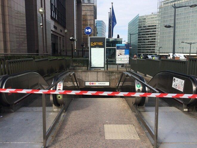 El metro Schuman, una parada después de la de Maalbeek, en el corazón del barrio europeo. © LL