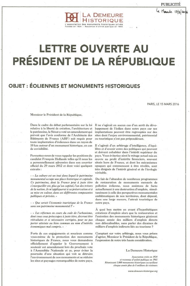 Le Monde du 17 mars 2016 © La Demeure Historique