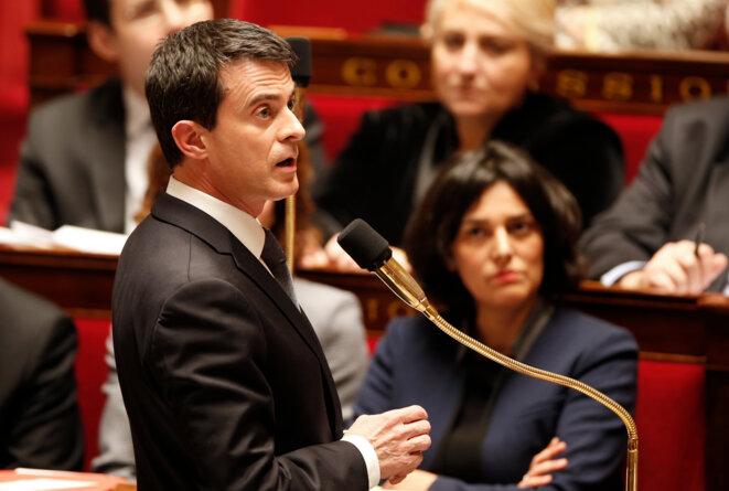 Manuel Valls et Myriam El Khomri, le 8 mars 2016, à l'Assemblée nationale. © Reuters